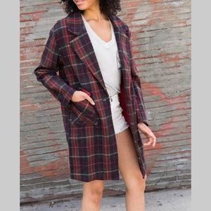 LAST TWO Oversized plaid trench blogger coat